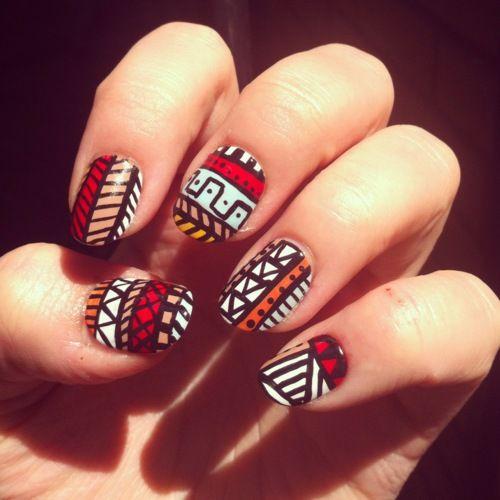 Tribe: Nailart, Red White Blue, Summer Nails Art, Tribal Nails, Tribal Prints Nails, Nail Art, Tribal Patterns, Aztec Nails, Nails Designs