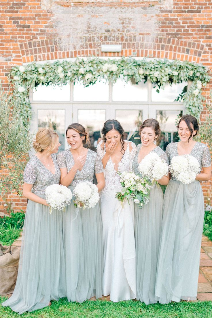 Bridesmaids In Green Sequinned ASOS Dresses - Godwick Hall Wedding With Bride In Anna Georgina Bridesmaids In Green Sequinned Dresses Images From Sarah Jane Ethan Photography