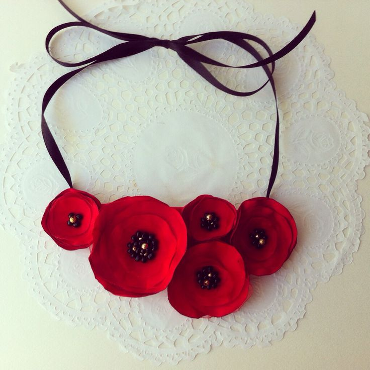 Handmade fabric poppy flower necklace