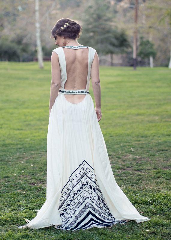 Bohemian open-back dress.