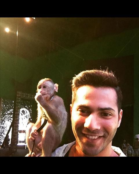 Varun Dhawan strikes a pose with a monkey sitting on his shoulders.  #instagram #bollywoodpictures #celebs #pics #varundhawan