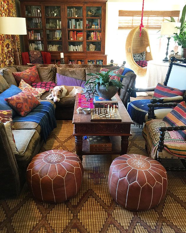 My own boho funky living room - how I wish we could keep it this put together right now - remodeling is getting me down! Dust and dropcloths - yuck! I want to sprawl with the pillows and Poppy (our pup) and just not deal right now!