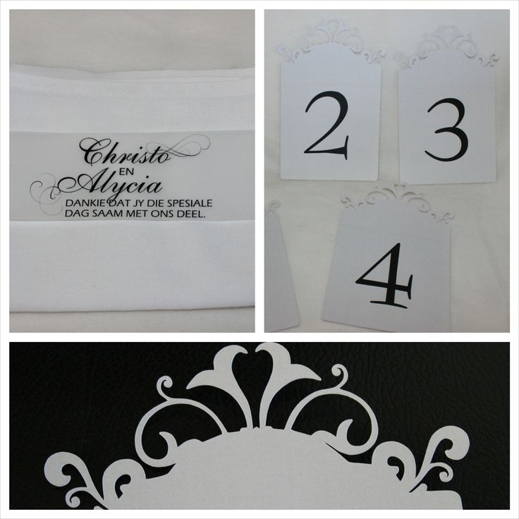 Wedding Thank you wraps and Cut out Table Numbers www.bellissimo.co.za