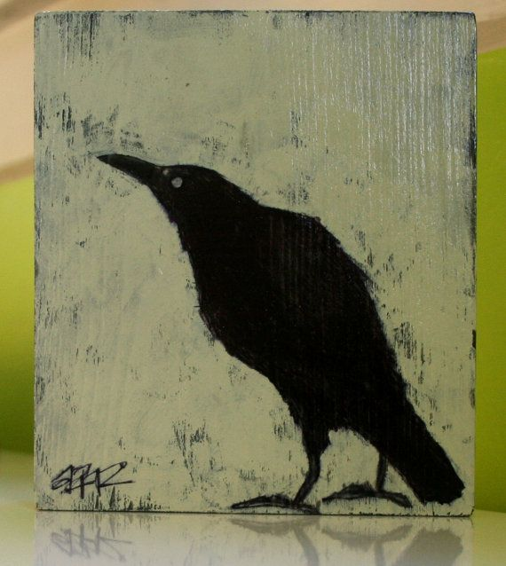 hunch original crow painting on recycled wood block by art25bya2n2, $24.00