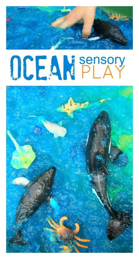 ocean sensory bin made with gelatin - no time for flash cards