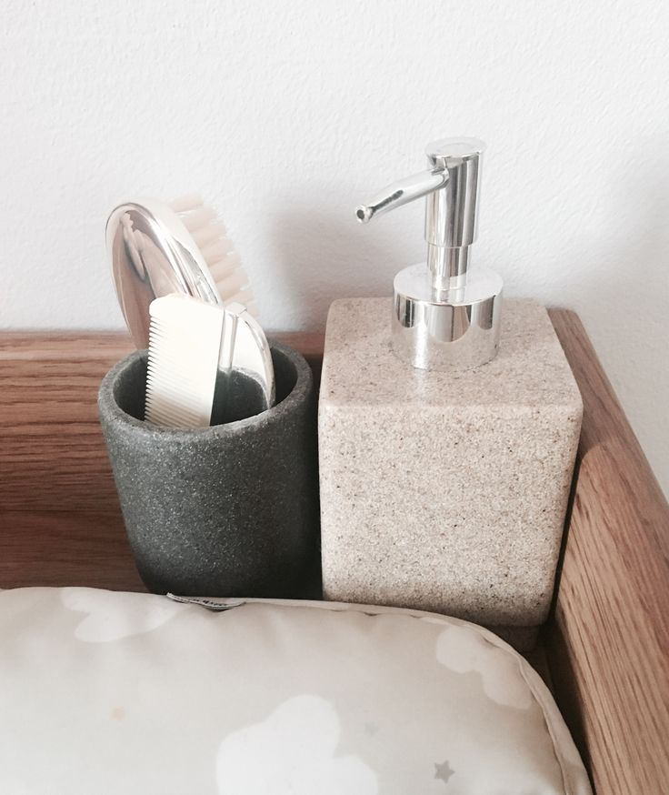Lotion jar and tumbler from George Home at Asda. Silver comb and brush set from John Lewis.