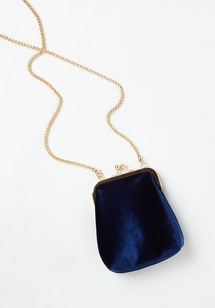 Had a Fab Day Bag. If you need a reason to fancy up with this blue velvet purse, weve got a bevy! #blue #modcloth