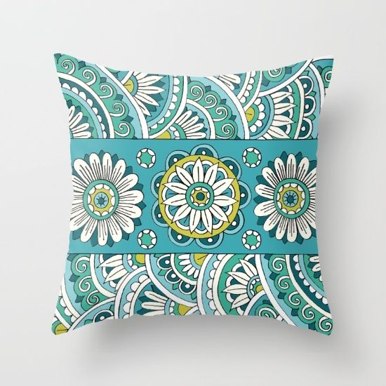 Teal Zentangle Throw Pillow by Sarah Oelerich