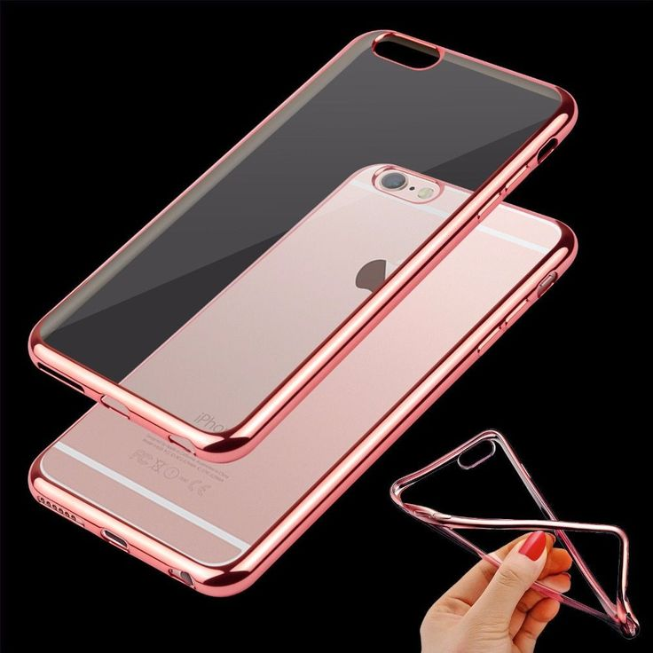Luxury Ultra Thin Clear Crystal Rubber Plating Electroplating TPU Soft Mobile Phone Case For iPhone 5 5s 6 6s 7 7s Plus Cover //Price: $5.99//     #electonics