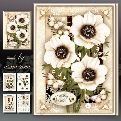 Wedding Anniversary Birthday Cream Anemone Card 4 sheets for print with decoupage for 3D effect plus few sentiment tags (for your own personal text)