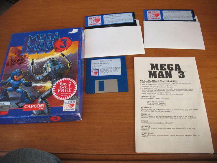 "Mega Man 3 Instruction Booklet, Box CapCom IBM Tandy 3.5"" disks & 5.25"" floppies"