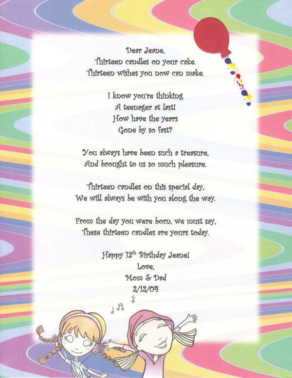 13th Birthday Poems And Quotes Joshua13 Pinterest Birthday