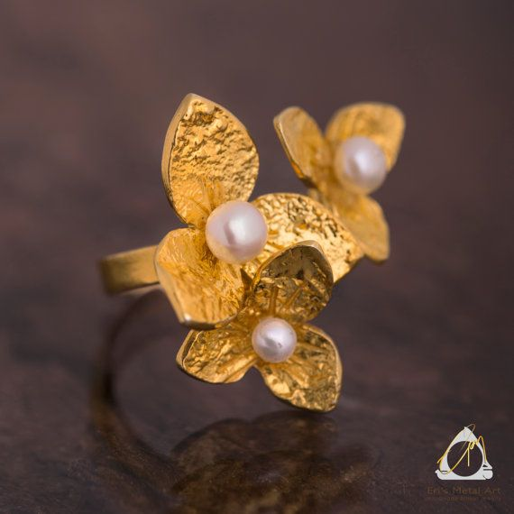 Handmade hammered gold plated sterling silver Flower pearl ring