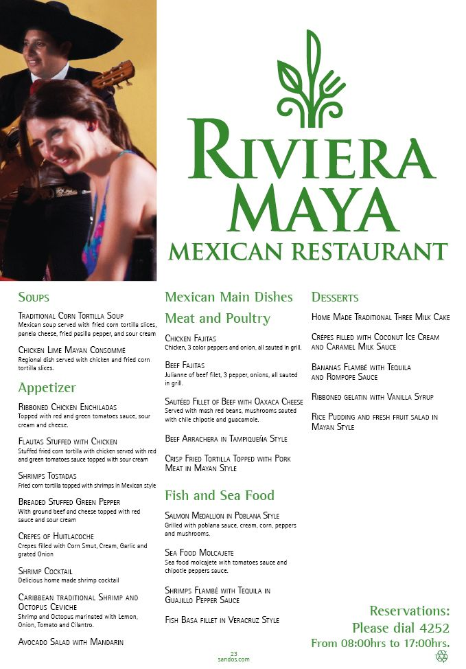Sandos Playacar Beach Resort and Spa has an Ala cart Mexican Restaurant!  The Riviera Maye Mexican Restaurant is just one of the amazing places to eat during your stay here!  Those on a timeshare promotions can pick any 2 Ala cart restaurants during their 5 night timeshare tour stay!