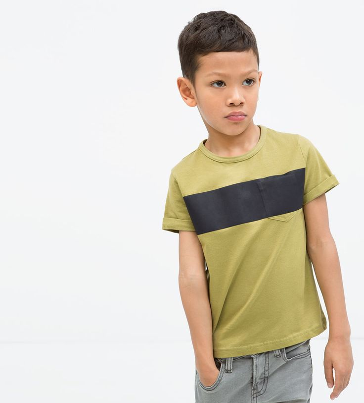 SINGLE STRIPE T-SHIRT WITH POCKET-T-shirts-Boy (3-14 years)-KIDS | ZARA United States