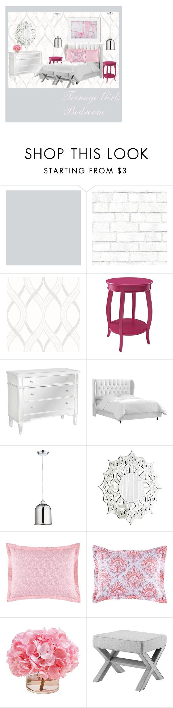 """""""Teenage Girls Bedroom"""" by christietanupi on Polyvore featuring interior, interiors, interior design, home, home decor, interior decorating, Tempaper, Brewster Home Fashions, Madison and Worlds Away"""