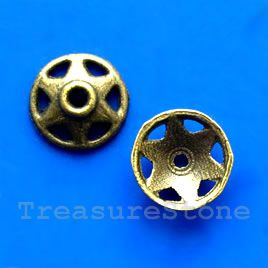 Bead cap, antiqued brass finished. 10mm. #TreasureStone Beads Edmonton. www.TreasureStoneBeads.com