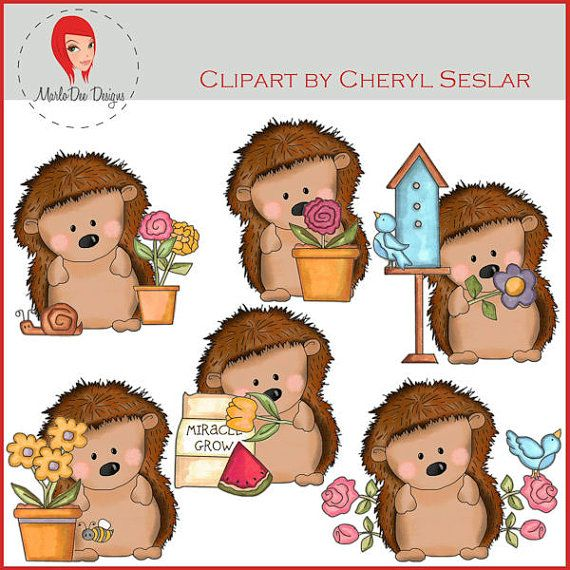NEW Pepper the Hedgehog Loves Flowers Clipart by by marlodeedesigns, $1.25