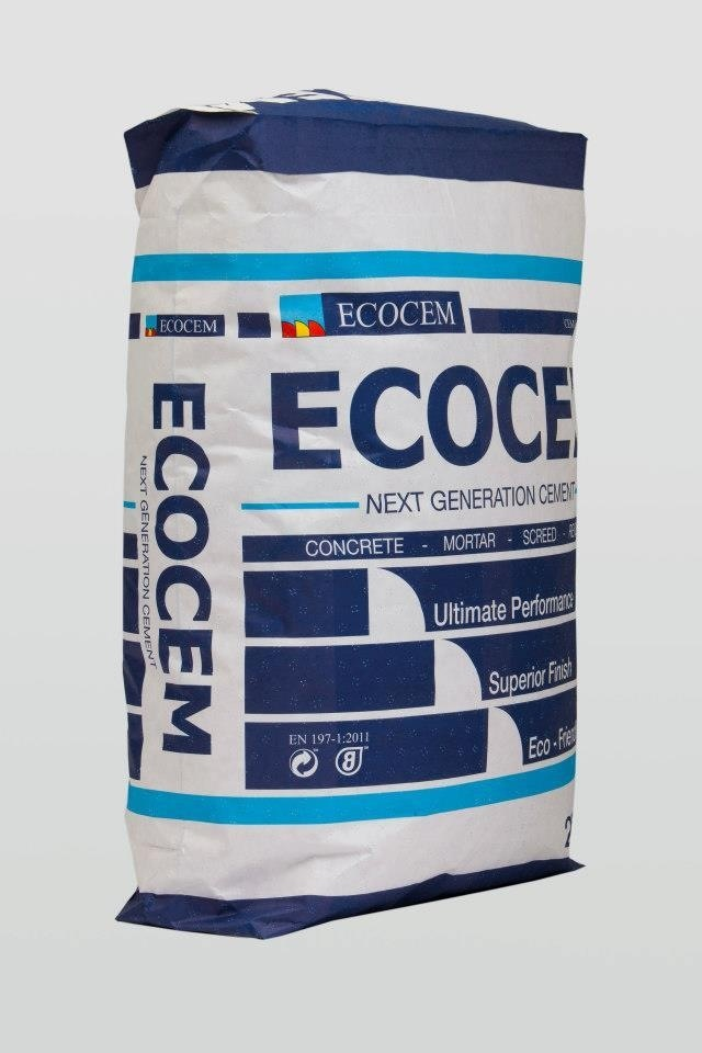 New ecocem next generation cement bag, packaging design and branding design by kingston lafferty design. Wrap around bands form body of bag with main emphasis on fin shape inspired by logo. Www.kingstonlaffertydesign.com