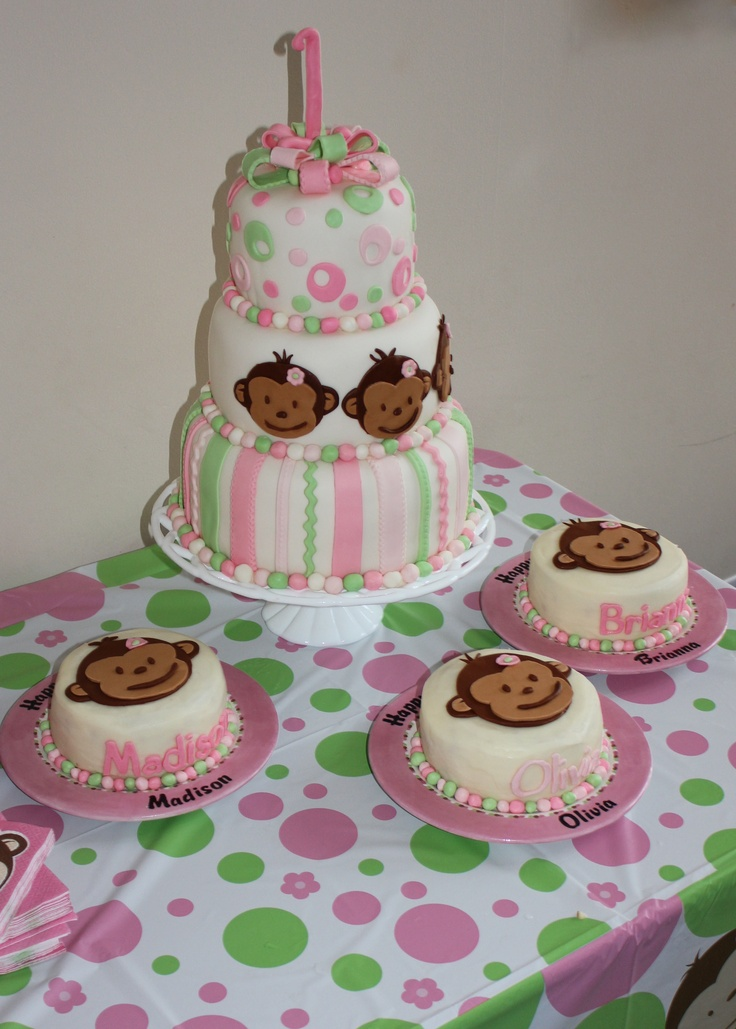 3 tier Mod Monkey Triplet First Birthday cake!!  Happy Birthday Madison, Olivia, and Brianna!!