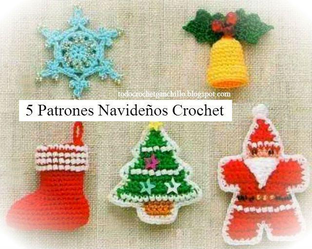 Todo crochet 5 patrones crochet para navidad navidad - Adornos navidenos ganchillo patrones ...