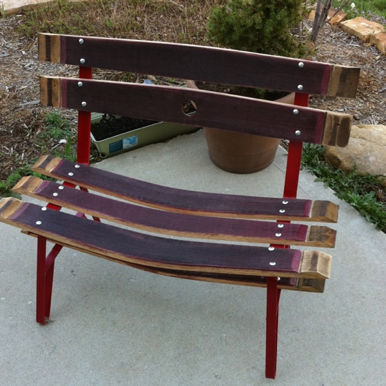 Wine barrel bench. I built.