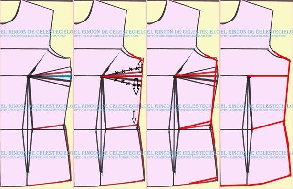Eliminando la pinza de costado de busto en patrón delantero de blusa o vestido