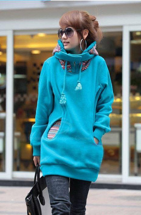 Korean Thicken Solid Color Thicken Hooded Long Sleeves Women's HoodySweatshirts & Hoodies | RoseGal.com