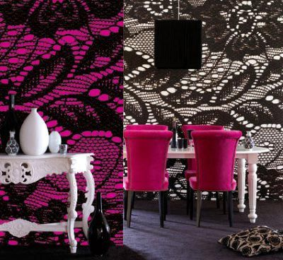Brilliant! Lace digitally transferred onto walls Digital