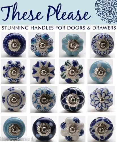 These Please Mixed Blue & White Ceramic Door Knobs Handles Pulls Drawer Kitchen | eBay