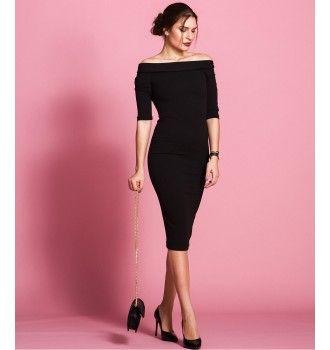 4519d359b2a8 Έξωμο Midi Φόρεμα - Μαύρο