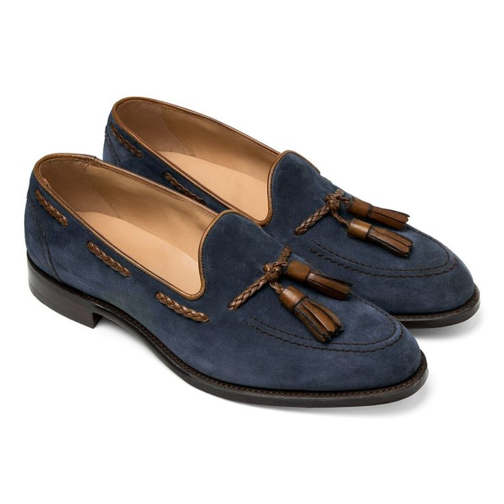• Blue • Suede • Tan leather braided tassel • Goodyear welted construction • Leather lined • Leather sole • Made in England
