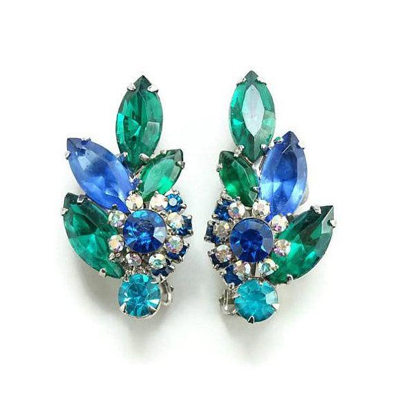 Green Blue Rhinestone Sherman Clip Earrings