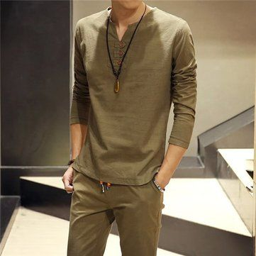 Designer Men's Spring Summer Casual Ventilated Linen Long Sleeve Solid Color O-Neck Collar Loose Shirts - NewChic