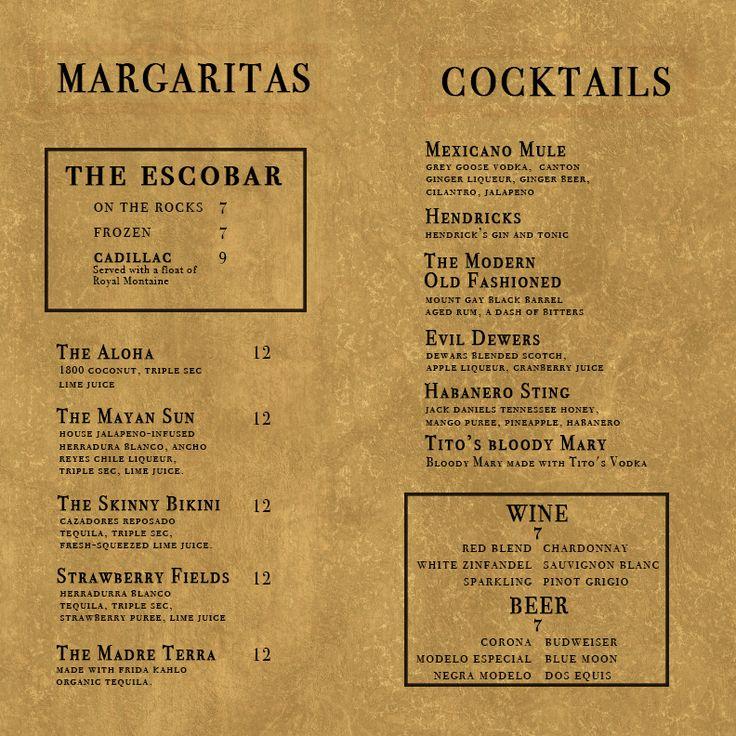 Inside of Casa Escobar Cocktail Menu \/\/ Designed by Grant Bogorad - beer menu