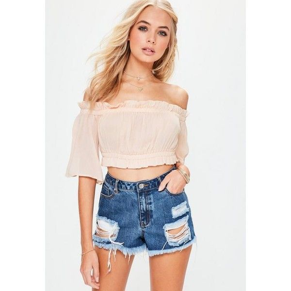 Missguided Cheesecloth Elasticated Waist Bardot Top ($36) ❤ liked on Polyvore featuring tops, nude, rayon tops, relaxed fit tops, elastic waist tops and viscose tops