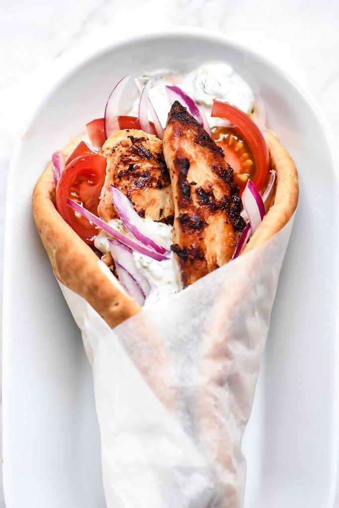 Easy Chicken Gyros with Tzatziki Sauce | foodiecrush.com