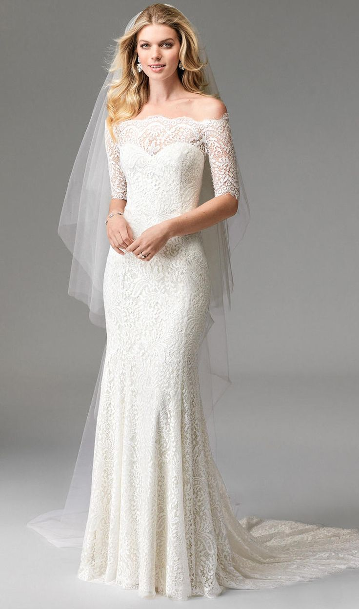 Lace gown with off the shoulder sleeves | Wtoo by Watters Fall 2016 | https://www.theknot.com/content/wtoo-wedding-dresses-bridal-fashion-week-fall-2016