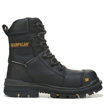 "Caterpillar Men's Mortise 8"" Waterproof Composite Toe Work Boots (Black Leather)"