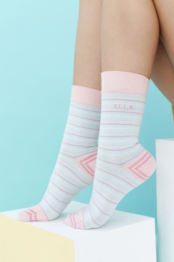Ladies 2 Pair Elle Striped Bamboo Socks with Comfort Cuff £8.99
