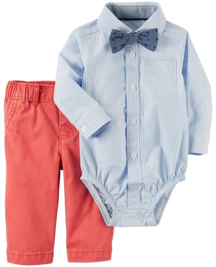 5181c79f7 This is the perfect Easter outfit for that little gentleman! Carters Baby Boy  Carter's blue Bodysuit with chambray Bowtie & coral Pants Set #babyboy ...