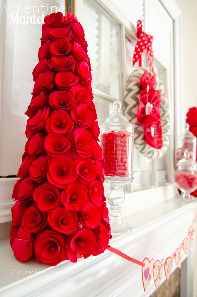 Valentine's Day mantel: Valentine'S Day, Valentines Day Red Decor, Valentines Mantels, Valentines Decor Ideas, Decor Ideas For Valentines, Rose Trees, Valentines Day Mantles Decor, Mantles Valentines Decor, Valentines Day Trees Decor