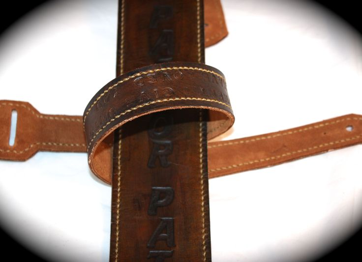 Custom guitar strap from Flatline Leather