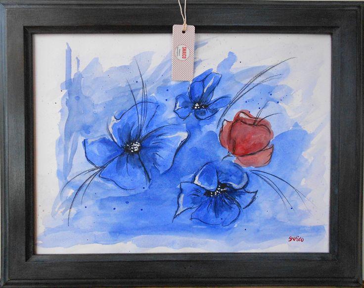 #acquarello #fiori #blu #rosso #snaicolab