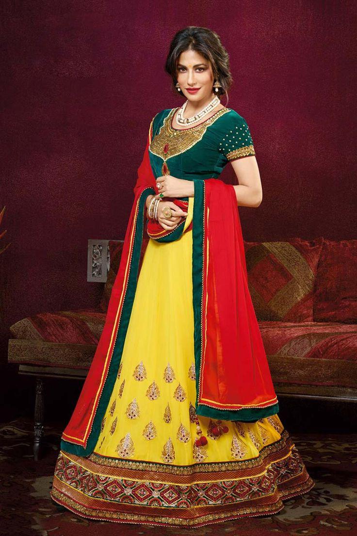 Yellow Georgette Designer Ghaghra Choli