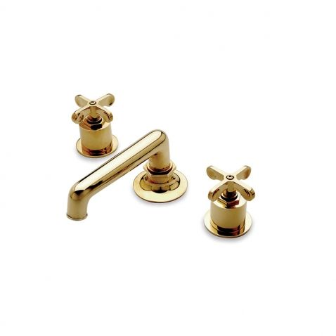 Henry Low Profile Three Hole Deck Mounted Lavatory Faucet with Metal Cross Handles — Products   Waterworks