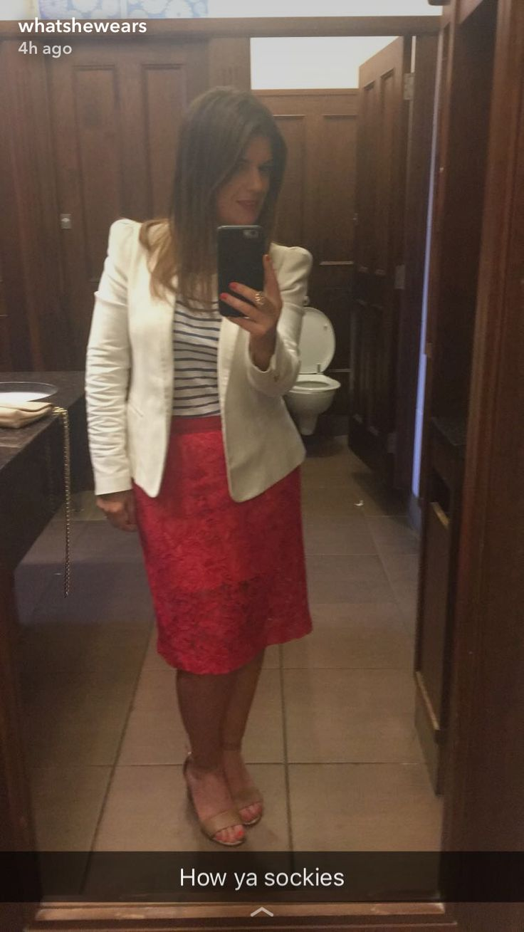 White blazer with pink lace skirt