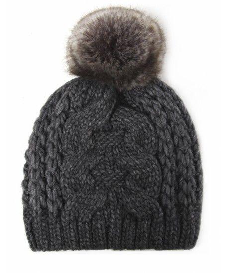 Gebeana Dark Grey Faux Fur Bobble Hat
