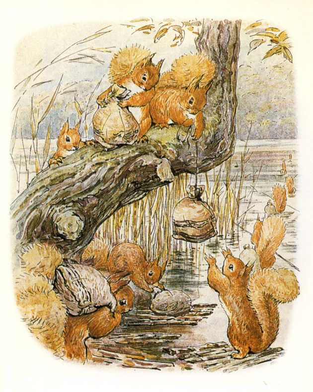 """The Tale of Squirrel Nutkin', 1903 -- Beatrix Potter. """"The squirrels filled their little sacks with nuts, and sailed away home in the evening."""""""