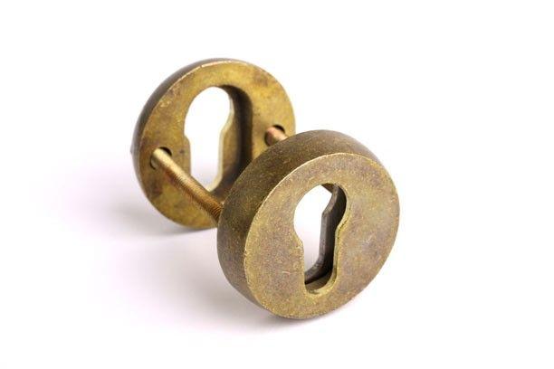 Rozet voor profiel-cilindersloten veiligheidsbeslag brons antiek/ tinkleur   SKG** deur/raam beslag   Deurklink online - deurbeslag van vroeger -